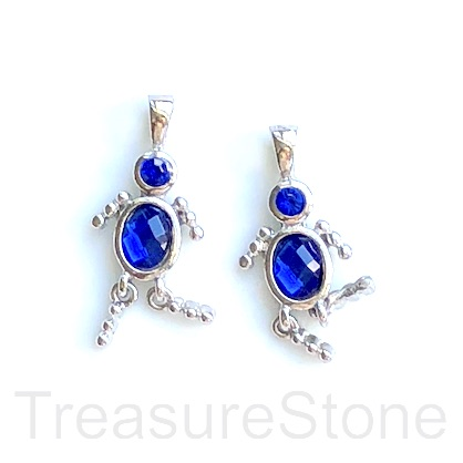 Charm, pendant, silver-finished, royal blue, 25mm dancer. 2pcs.