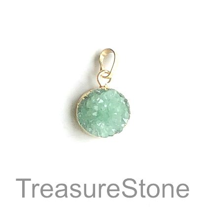 Charm/ Pendant, druzy, green,dyed,with gold colour top, 15mm. Ea