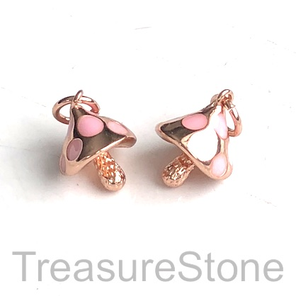 Charm, 11x8mm, rose gold, pink, 10mm enamel mushroom. Ea