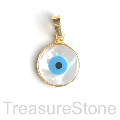 Charm, pendant, 16mm, gold, mother of pearl evil eye. Ea