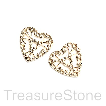 Charm, 18k gold-plated brass, 17mm filigree heart. Pack of 2