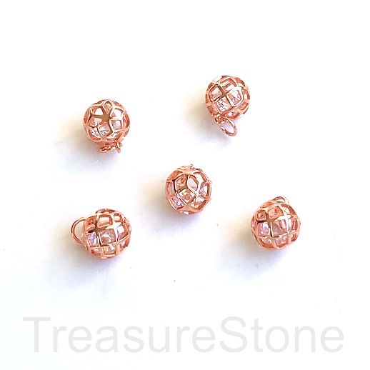 Charm, 10mm, gold plated brass cage 3, CZ, filigree. Ea