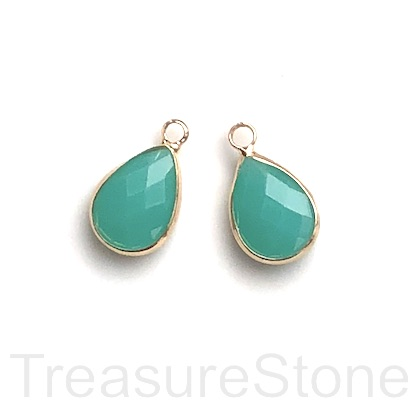 Charm,pendant,glass,10x15mm dark amazonite faceted teardrop.3pcs