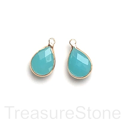 Charm, pendant, glass, 10x15mm turquoise2 faceted teardrop. 3pcs