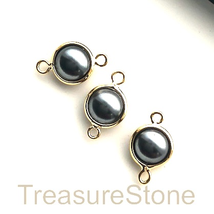 Charm, connector, 24k gold-plated, 8mm, grey glass pearl, 3pcs