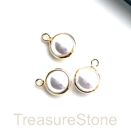 Charm, 24k gold-plated, 8mm, white glass pearl, 3pcs