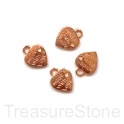 "Charm, rose gold-plated, 10mm heart ""Made with Love"". Pkg of 12"