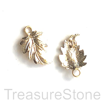 Charm,link,connector,pendant,18k gold-plated brass, 17mm leaf. 2