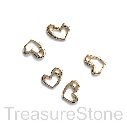 Charm, 18k gold-plated brass, 7x5mm open heart. Pack of 3