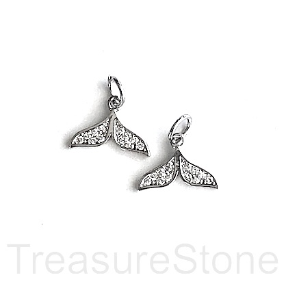 Charm, pave, silver-plated brass, 12mm whale tail. Each