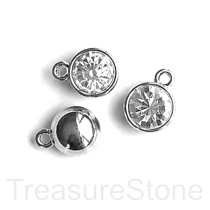 Charm, pendant, rhodium-plated pewter, 10mm, clear crystal. 3pcs