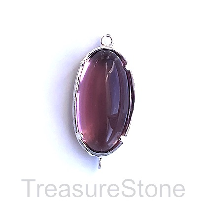 Charm, connector, silver-plated,11x22mm oval, purple glass. Each