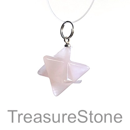 Charm/ Pendant, rose quartz, 17x19mm. Each.