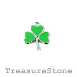 Charm/Pendant, silver-plated, 18mm shamrock. Pkg of 2.