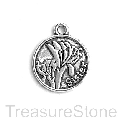 "Charm, pendant, 20mm silver-colored ""sister"". Pkg of 5."