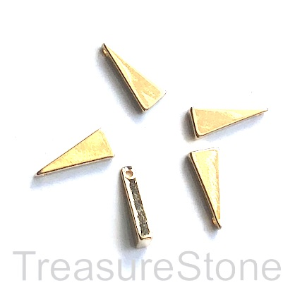 Charm, 18k gold-plated brass, 5x12mm triangle. Pack of 2