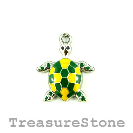 Charm/Pendant, silver-plated, 24mm turtle. Pkg of 2.
