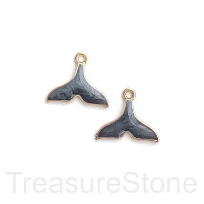 Charm, pendant, 12x17mm gold dark grey whale tail. 3pcs