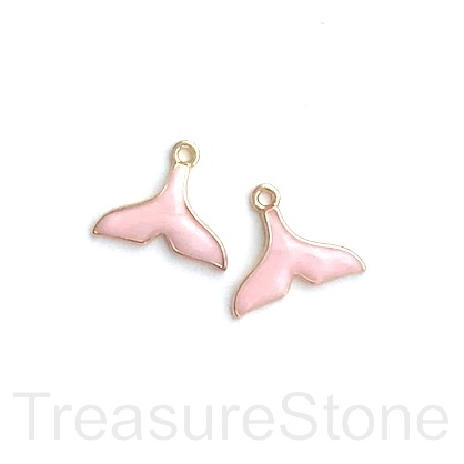 Charm, pendant, 12x17mm gold pink whale tail. 3pcs