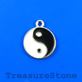 "Charm/Pendant, silver-plated, 23mm ""Yin Yang"". Pkg of 2."