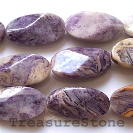 Bead, charoite jasper (dyed), 13x25mm faceted oval. 16-inch.