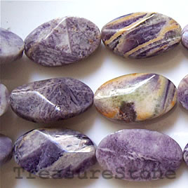 Bead, charoite jasper (dyed), 18x30mm faceted oval. 16-inch.