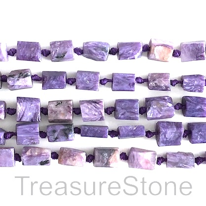 Bead, Charoite, 6x8mm rough nugget, grade B. 18.5-inch, 40pcs