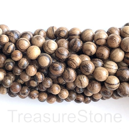 Bead, scented wood, chenxiang, 8mm round. Pkg of 108pcs.