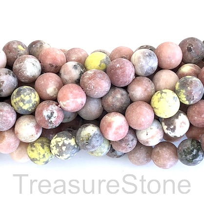Bead, Cherry Jasper, Grade B, matt, 8mm round. 15inch, 47pcs.