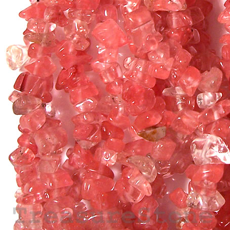 Bead, cherry quartz glass, chip. 36-inch strand.