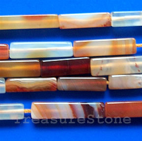 Bead, color agate square tube, 5x5x20mm, 16-inch strand