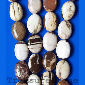 Bead, brown zebra jasper, 10x14mm flat oval. 16-inch strand
