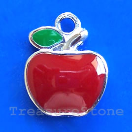 Charm/pendant, chrome-finished, 17mm apple. Sold individually