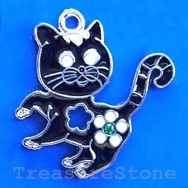 Charm/pendant,chrome-finished, 24mm cat. Sold individually.