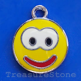 Charm/pendant,chrome-finished,18mm happy face. Sold individually