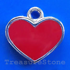 Charm/pendant, chrome-finished,18mm red heart. Sold individually