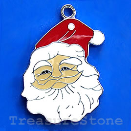 Pendant, chrome-finished, 31mm Santa Claus. Sold individually