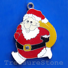 Pendant, chrome-finished, 35mm Santa Claus. Sold individually