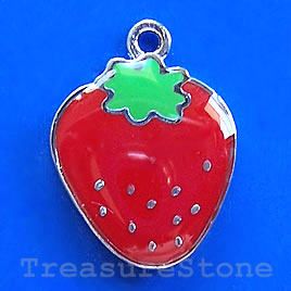 Charm/pendant,chrome-finished,17mm strawberry. Sold individually