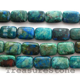 Bead, chrysocolla Flat Rectangle, 10x14mm, 16-inch strand