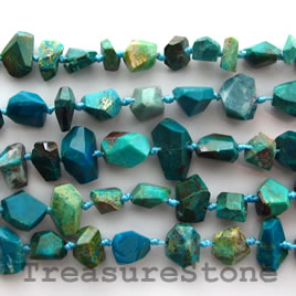 Bead, chrysocolla faceted nugget, 7-10mm, 16-inch strand