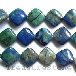 Bead, chrysocolla jasper, 13mm flat diamond. 16 inch strand.