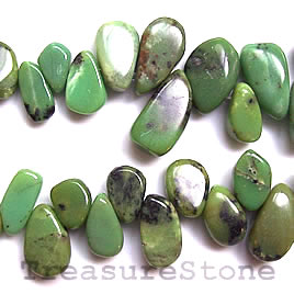Bead, chrysoprase, irregula drop 12 to 18mm. 16 inch strand