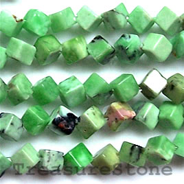 Bead, chrysotine, 7mm dice. 16-inch strand.