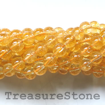Bead, citrine, 6mm round. 15-inch strand, 58pcs