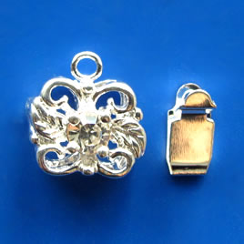Clasp, tab, silver-finished brass, 12x9mm filigree. Pkg of 3.