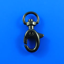 Clasp, lobster claw, black-plated, 32x15mm with swivel. Pkg of 2