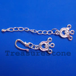 Clasp, 3-strand, silver plated brass, 14x55mm. Sold individually