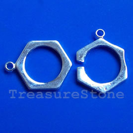 Clasp, silver-plated brass, 18mm. Sold individually.