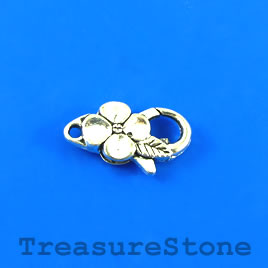 Clasp, lobster claw, silve-plated, 22mm. Pkg of 4.